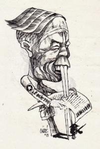 Qua nét bút của Chóe, ông Thọ có hai chiếc răng cửa thật dài để chống đỡ cho bảnh Hiệp định (Agreement). Anh du kích thuộc Mặt trận Giải phóng miền Nam nhỏ bé đang lăm lăm khẩu súng nép mình dưới bản Hiệp Định…
