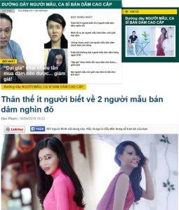 03- Một số báo chí và trang mạng đưa tên tuổi, hình ảnh người mẫu bán dâm