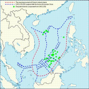 Tàu đòi đường lưỡi bò và vùng họ lấn chìếm đảo Việt trên biển từ 1974- 2009.